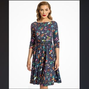 Holly 1950's Blue Butterfly Swing Dress Lindy Bop